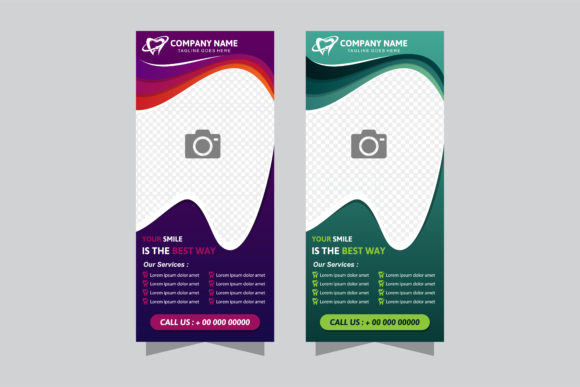Print on Demand: Vertical Banner Green Purple Graphic Graphic Templates By noory.shopper