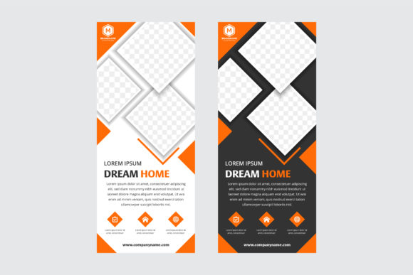 Print on Demand: Vertical Banner Square Orange Black Graphic Graphic Templates By noory.shopper