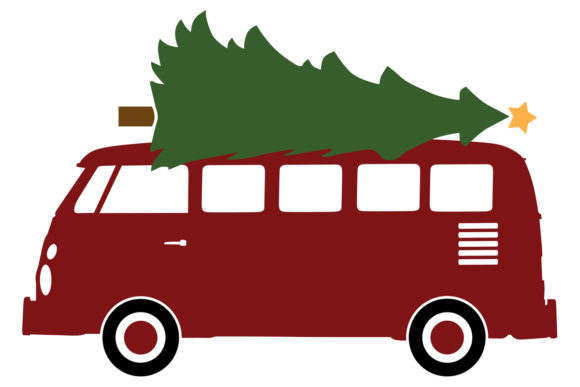Download Free Microbus With A Christmas Tree Graphic By Idrawsilhouettes SVG Cut Files