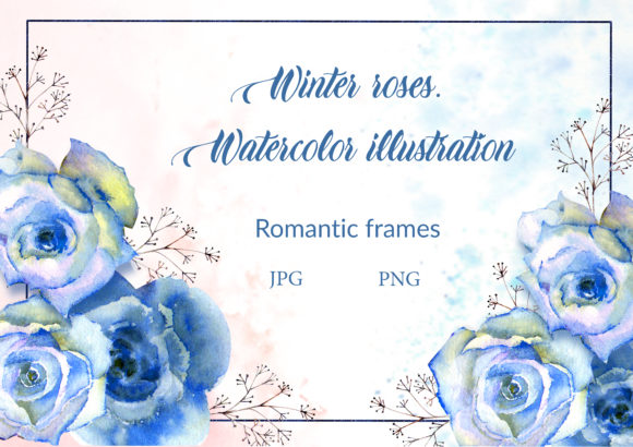 Print on Demand: Blue Roses. Watercolor Illustration Graphic Illustrations By Natika_art