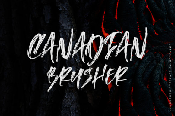 Print on Demand: Canadian Brusher Display Font By motokiwo