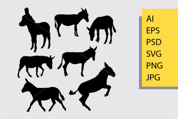 Donkey Mammal Animal Silhouette Graphic Illustrations By Cove703