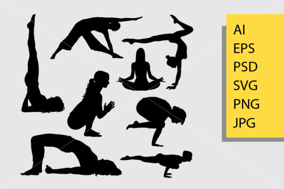 Yoga Female Sport Silhouette Graphic Illustrations By Cove703 - Image 1