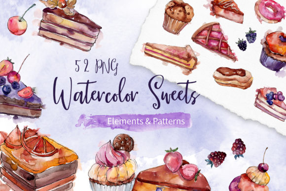 Print on Demand: Cake Sweet Happiness Watercolor Graphic Illustrations By MyStocks
