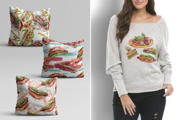 Print on Demand: Fast Food Hot Dog Watercolor Graphic Illustrations By MyStocks - Image 6