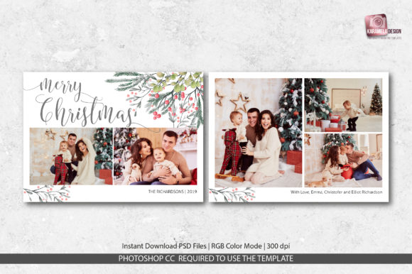 Christmas Card Template Graphic Print Templates By DesignCafeArt