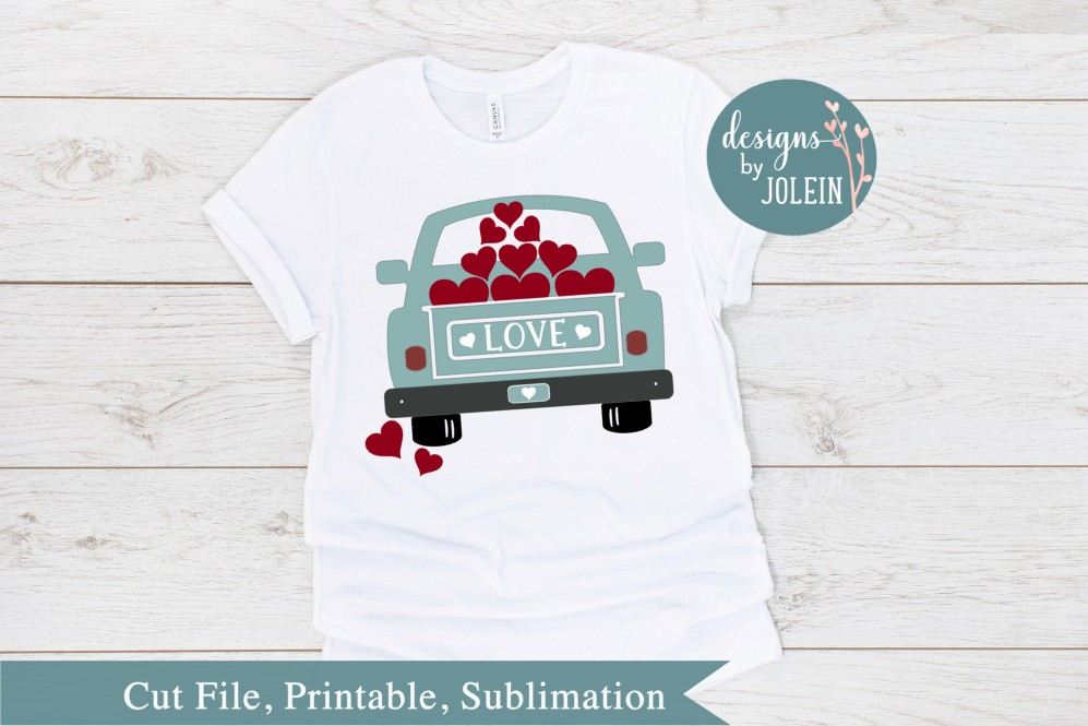 Download Free Valentine Truck Graphic By Designs By Jolein Creative Fabrica for Cricut Explore, Silhouette and other cutting machines.