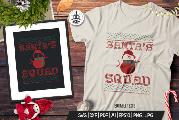 Christmas Santa Squad Sweater T-Shirt Graphic Print Templates By JeksonGraphics