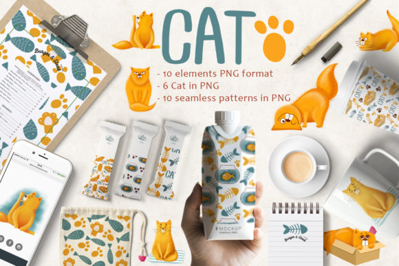 Print on Demand: Cute Cat Patterns Graphic Patterns By By Anna Sokol