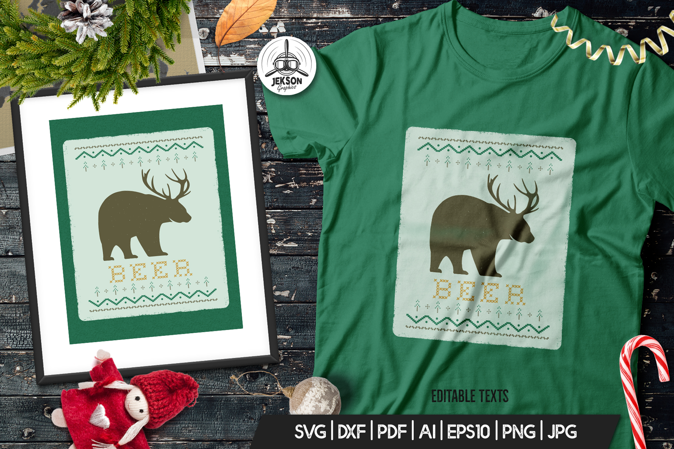 Download Free Funny Christmas Print T Shirt Sweater Graphic By Jeksongraphics for Cricut Explore, Silhouette and other cutting machines.