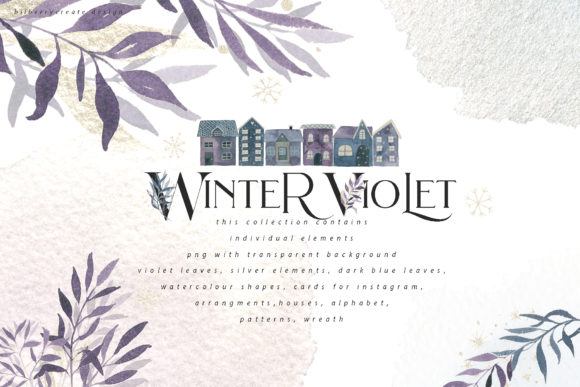 Winter Violet Collection Graphic Illustrations By BilberryCreate