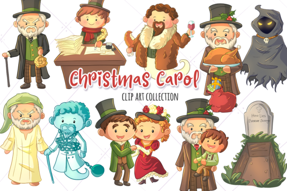 Download Free A Christmas Carol Clip Art Collection Graphic By for Cricut Explore, Silhouette and other cutting machines.