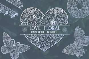 Print on Demand: Love Floral Papercut Bundle- 14 Graphic Crafts By tatiana.cociorva