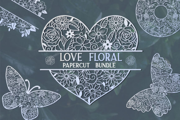 Print on Demand: Love Floral Papercut Bundle- 14 Gráfico Crafts Por tatiana.cociorva