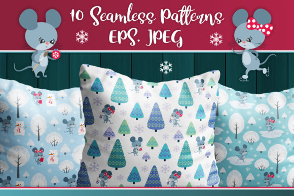 Print on Demand: Cute Mice. Winter Seamless Patterns Graphic Patterns By Olga Belova