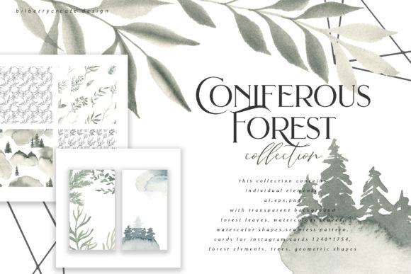 Coniferous Forest Art Collection Graphic Illustrations By BilberryCreate - Image 1