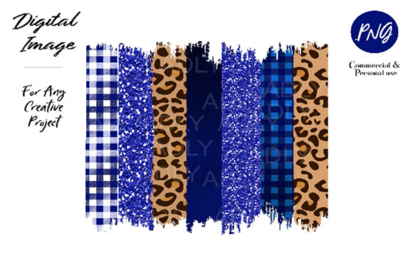 Royal Blue Cheetah Brush Stroke  Graphic