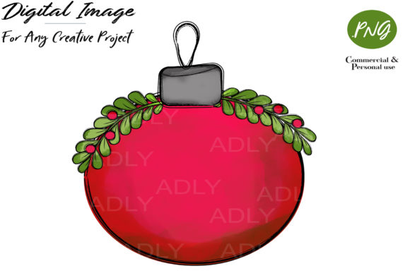 Print on Demand: Red Christmas Ornament Ball Clipart Graphic Illustrations By adlydigital
