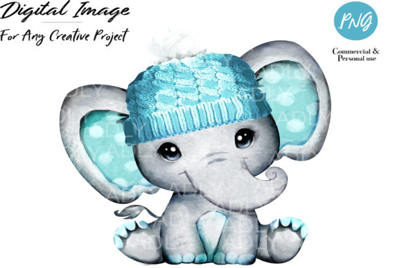 Print on Demand: Turquoise Boy Elephant with Winter Hat Graphic Illustrations By adlydigital