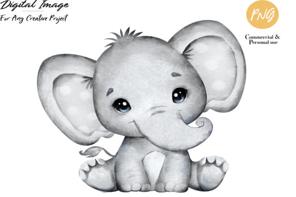 Print on Demand: Gray Boy Elephant with Winter Hat Grafik Illustrationen von adlydigital