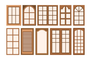 Download Free Vector Illustration Of Wooden Window Graphic By Sabavector for Cricut Explore, Silhouette and other cutting machines.