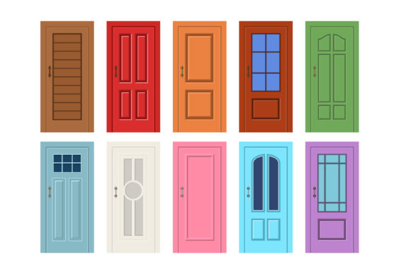 Print on Demand: Vector Illustration of a Wooden Door Graphic Graphic Templates By sabavector