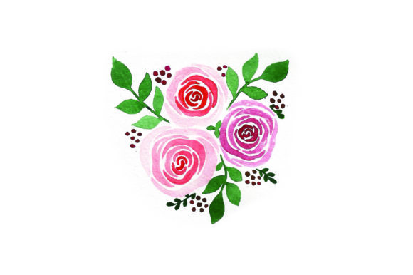 Bouquet of Roses - Watercolor Valentine's Day Craft Cut File By Creative Fabrica Crafts