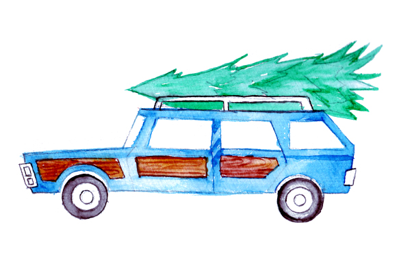 Download Free Station Wagon With Christmas Tree In Watercolor Style Svg Cut for Cricut Explore, Silhouette and other cutting machines.