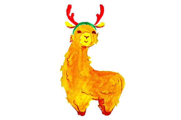 Download Free Llama With Red Reindeer Antlers In Gouache Style Svg Cut File By for Cricut Explore, Silhouette and other cutting machines.
