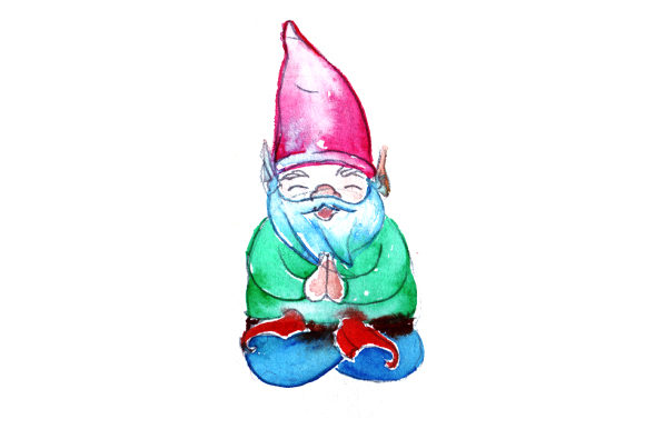 Gnome Doing the Lotus Pose in Watercolor Style Designs & Drawings Craft Cut File By Creative Fabrica Crafts - Image 1