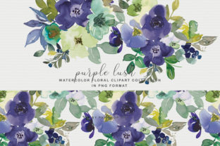 Download Free Purple Watercolor Floral Clipart Set Graphic By Patishop Art for Cricut Explore, Silhouette and other cutting machines.