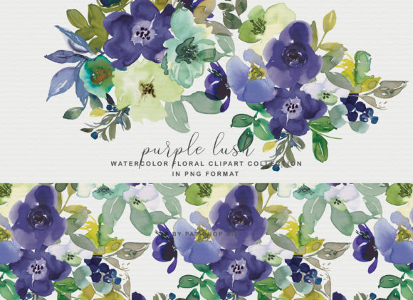 Purple Watercolor Floral Clipart Set Graphic Illustrations By Patishop Art - Image 1