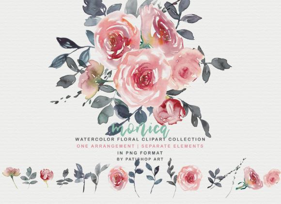 Blush Watercolor Floral Clipart Graphic Illustrations By Patishop Art