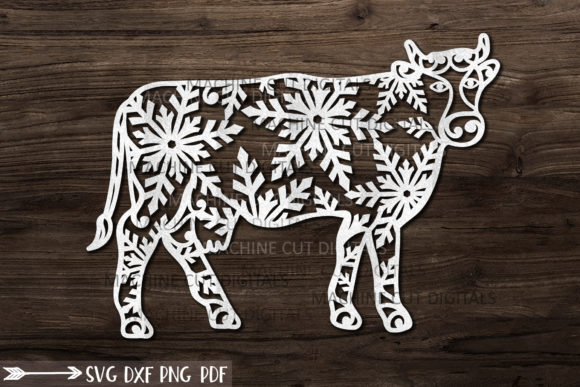 Christmas Cow with Snowflakes Paper Cut Graphic Crafts By Cornelia