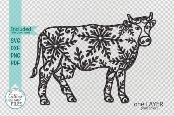 Christmas Cow with Snowflakes Paper Cut Graphic Crafts By Cornelia - Image 2