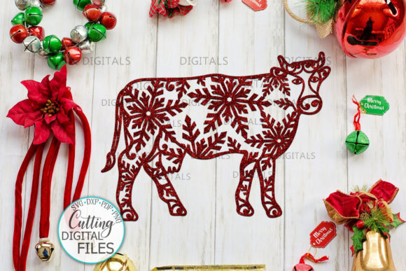 Christmas Cow with Snowflakes Paper Cut Graphic Crafts By Cornelia - Image 3
