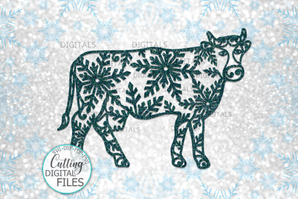 Christmas Cow with Snowflakes Paper Cut Graphic Crafts By Cornelia - Image 4