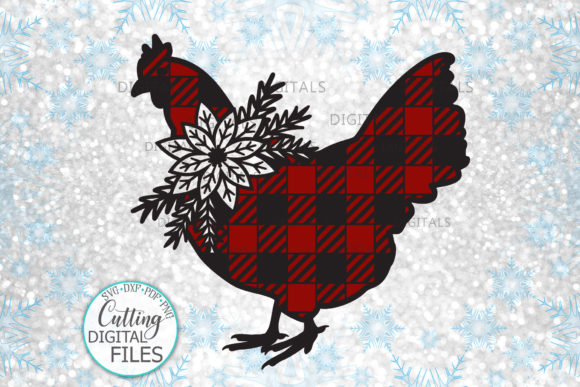 Buffalo Plaid Christmas Chicken Svg Cut Graphic Crafts By Cornelia - Image 1