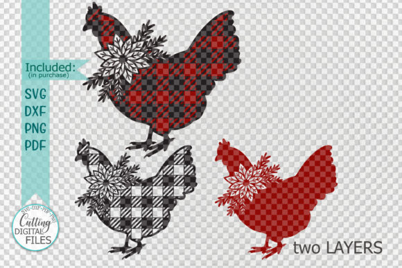 Buffalo Plaid Christmas Chicken Svg Cut Graphic Crafts By Cornelia - Image 3