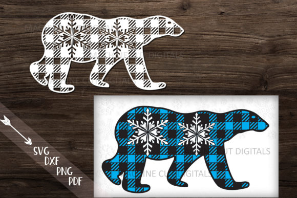 Polar Buffalo Plaid Christmas Bear Graphic Crafts By Cornelia - Image 1