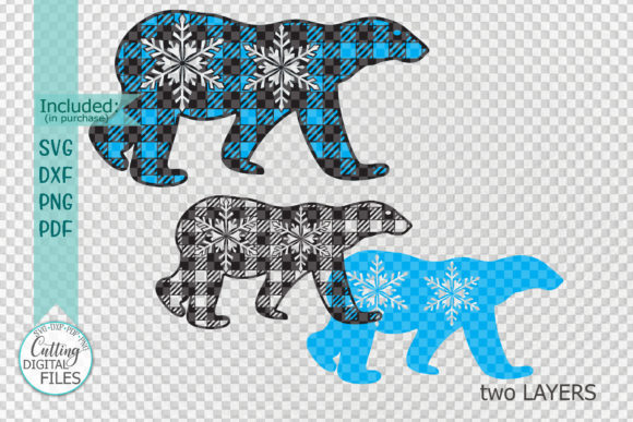 Polar Buffalo Plaid Christmas Bear Graphic Crafts By Cornelia - Image 2