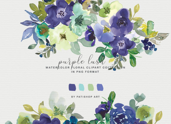 Purple Watercolor Floral Clipart Set Graphic Illustrations By Patishop Art - Image 2