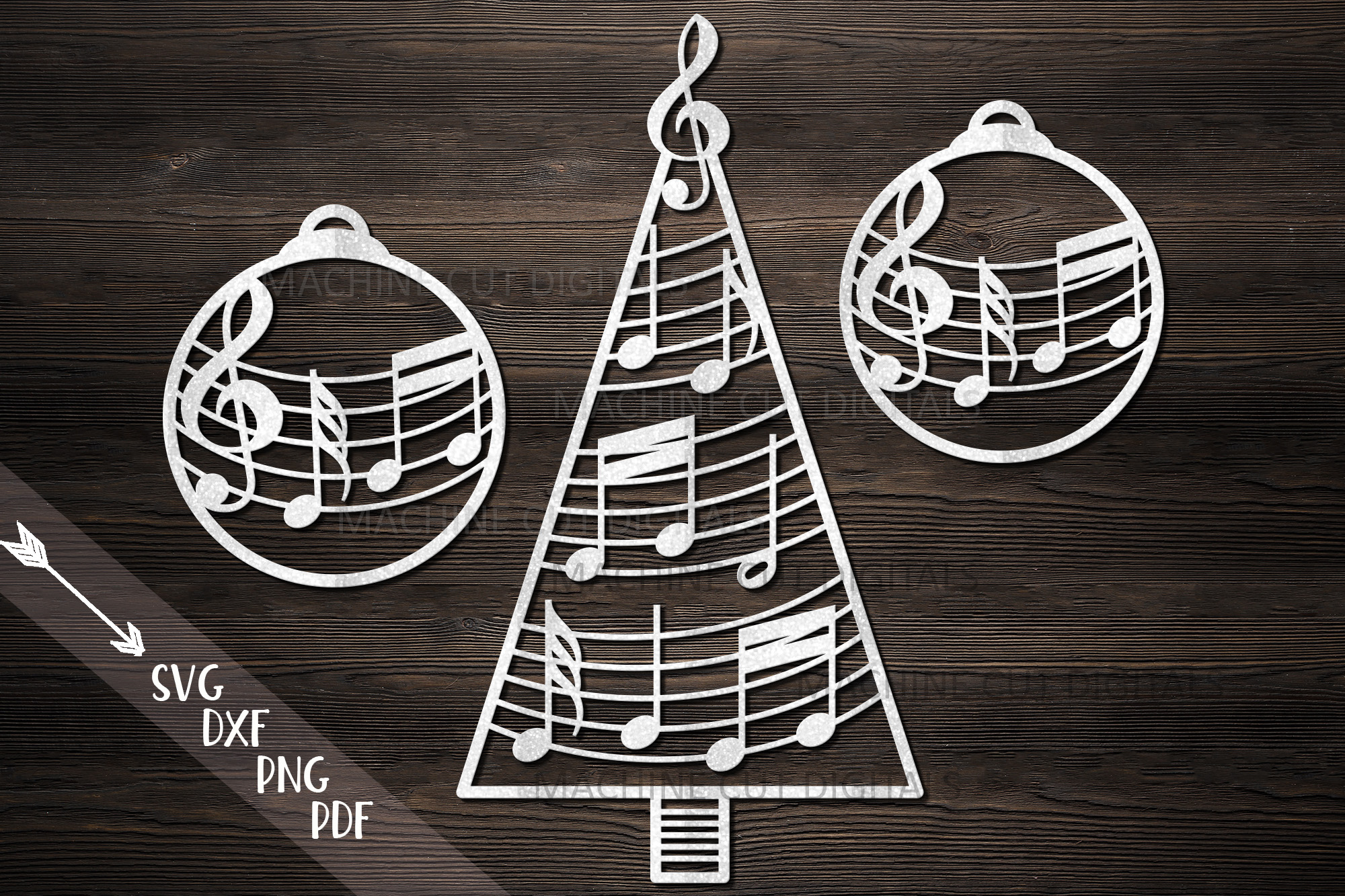 Download Free Music Christmas Tree Decorations Svg Cut Graphic By Cornelia Creative Fabrica for Cricut Explore, Silhouette and other cutting machines.