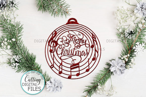 Music Christmas Ornament Bauble Svg Cut Graphic Crafts By Cornelia - Image 3