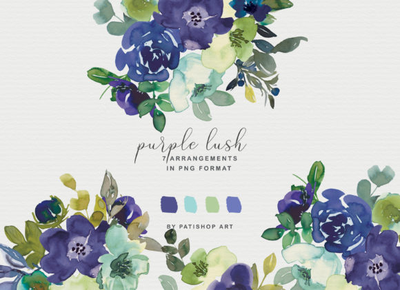 Purple Watercolor Floral Clipart Set Graphic Illustrations By Patishop Art - Image 3