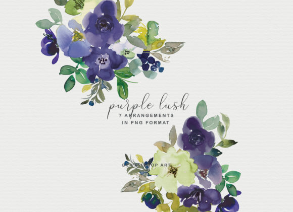 Purple Watercolor Floral Clipart Set Graphic Illustrations By Patishop Art - Image 4
