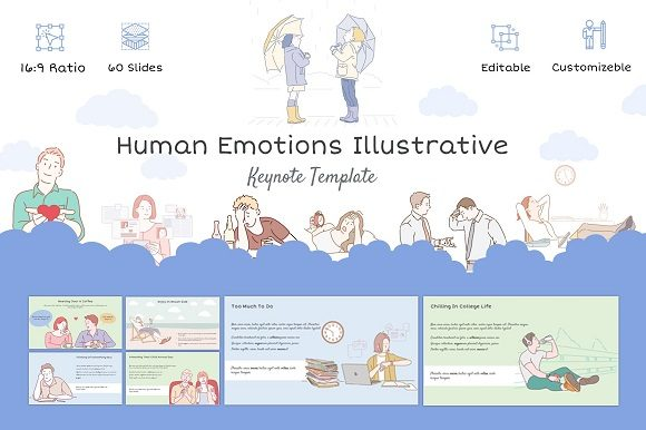 Human Emotions Illustrative Keynote Graphic Presentation Templates By renure