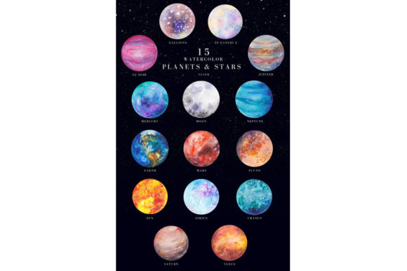 Print on Demand: 15 Watercolor Planets and Stars Set Graphic Illustrations By kaleriiatv
