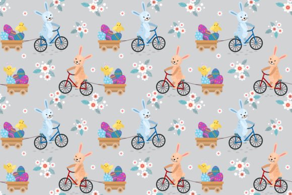 Download Free Cute Rabbit Riding Bike With Easter Eggs Graphic By Ranger262 for Cricut Explore, Silhouette and other cutting machines.