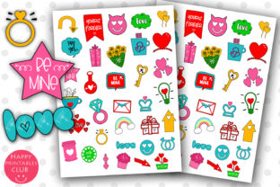 Download Free Cute Valentines Day Planner Stickers Graphic By Happy Printables for Cricut Explore, Silhouette and other cutting machines.